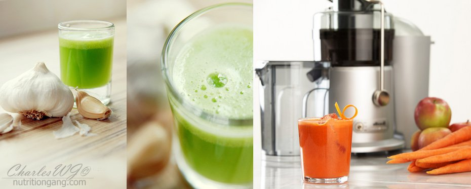 Garlic and celery juice by Wild Tofu and carrot juice by Food Thinkers.
