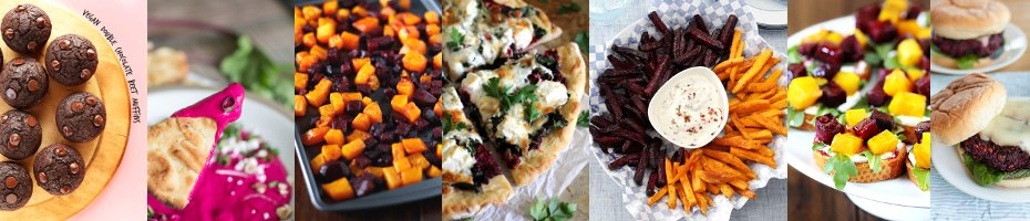 Fudgy Choco Beet Muffins | Best Beet Dip Ever | Maple Roasted Squash & Beets | Beet Pesto Pizza with Kale and Goat Cheese | Beet & Sweet Potato Fries | Roasted Beet Crostini | Veggie Beet Burger