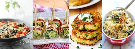 Hashbrowns & Spinach Pie | Mini Spinach Lasagna Roll Ups | Quinoa and Spinach Fritters | Chicken Florentine Bake